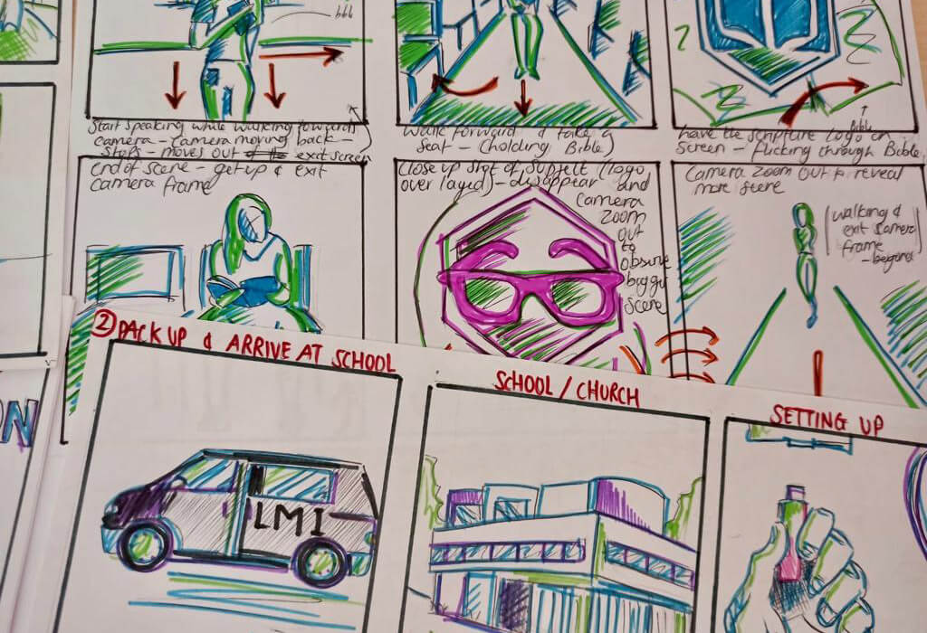 Storyboards created for Youth and Schools Outreach worker Lucy Paisley
