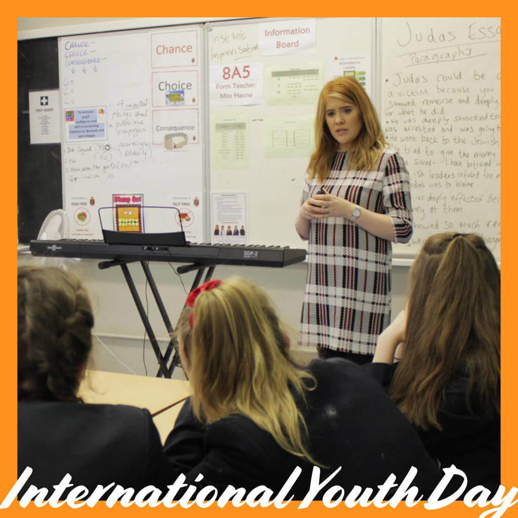 LMI's Alison Kernohan taking a Youth and Schools Outreach programme.
