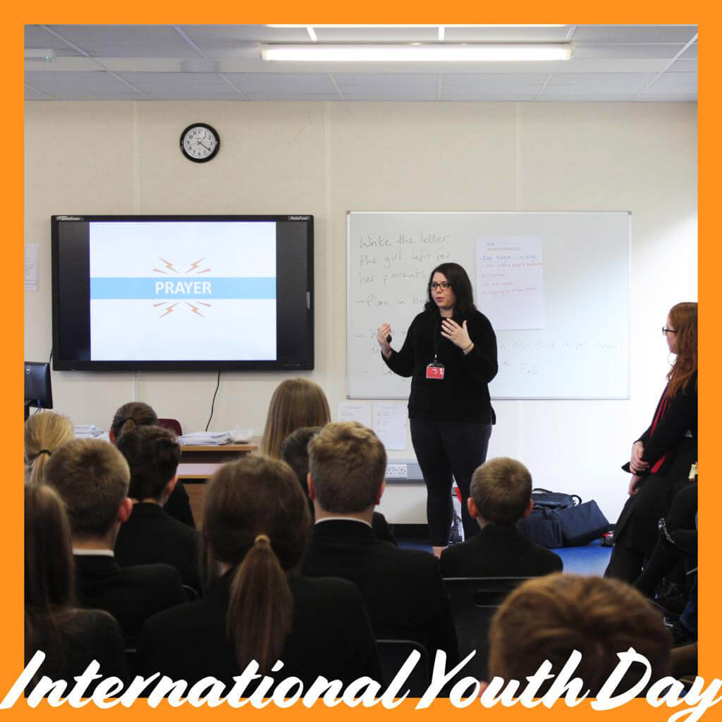 LMI's Becky Watson presenting a programme for the Youth and Schools Outreach.